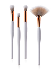 Fashion White Sector Shape Decorated Makeup Brush ( 4 Pcs)