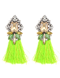 Fashion Fluorescent Green Square Shape Decorated Earrings