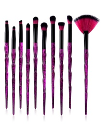 Fashion Purple Fan Shape Decorated Makeup Brushes(10pcs)