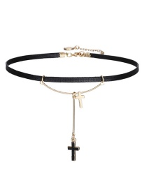 Fashion Gold Color+black Cross Shape Decorated Choker
