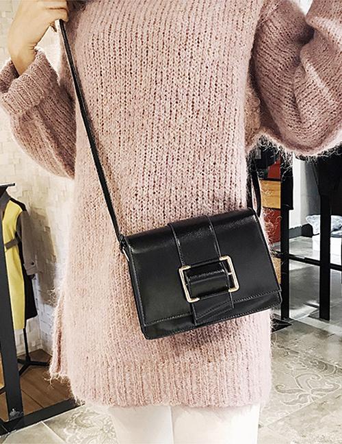 Fashion Black Belt Buckle Shape Decorated Bag