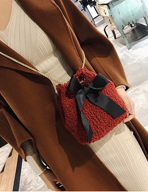 Lovely Red Bowknot Shape Decorated Bag