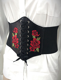 Fashion Black Embroidery Flower Decorated Belt