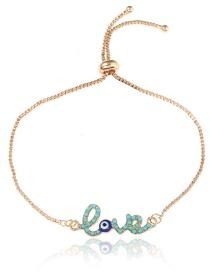 Fashion Blue Letter Shape Decorated Bracelet