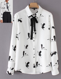 Fashion White Bird Shape Decorated Shirt