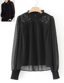Elegant Black Pure Color Decorated Blouse