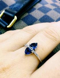 Vintage Sapphire Blue Oval Shape Diamond Decorated Ring