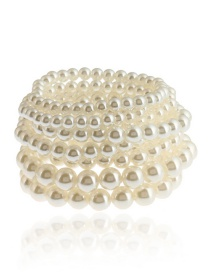 Fashion White Pearls Decorated Multi-layer Bracelet (8pcs)