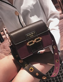Fashion Purple Double Buckle Decorated Shoulder Bag