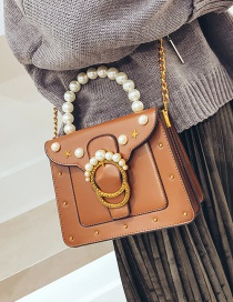 Fashion Brown Pearls Decorated Pure Color Shoulder Bag