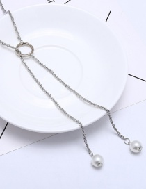 Fashion Silver Color+white Pearls Decorated Long Tassel Necklace
