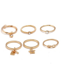 Fashion Gold Color Stars Shape Decorated Pure Color Ring(6pcs)
