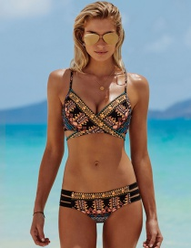 Sexy Multi-color Geometric Shape Decorated Swimwear