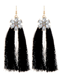 Fashion Black Flower Design Long Tassel Earrings