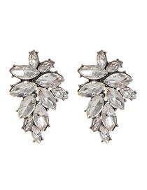Fashion White Oval Shape Diamond Decorated Pure Color Earrings