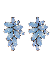 Fashion Light Blue Oval Shape Diamond Decorated Pure Color Earrings