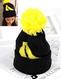 Fashion Black Fuzzy Ball Decorated Hat