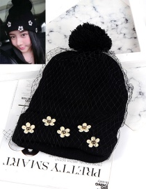 Fashion Black Flower Shape Decorated Hat