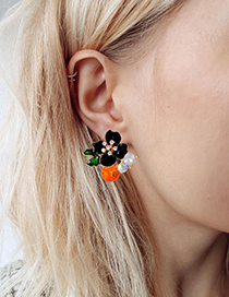 Fashion Black Flowers Shape Design Simple Earrings