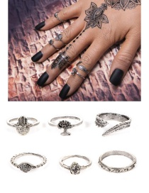 Fashion Silver Color Flower Pattern Decorated Ring Sets(6pcs)