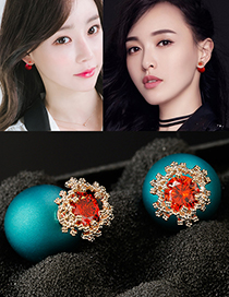 Fashion Peacock Blue Flower Shape Decoraed Earrings
