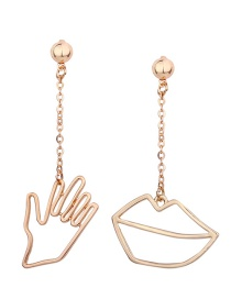 Fashion Gold Color Palm And Lips Shape Decorated Earrings