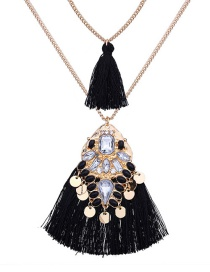 Fashion Black Geometric Shape Decorated Necklace