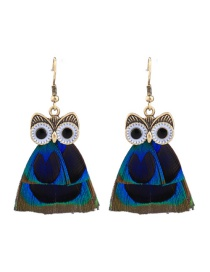 Fashion Blue Owl Shape Decorated Earrings