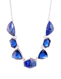 Fashion Blue Geometric Shape Decorated Necklace