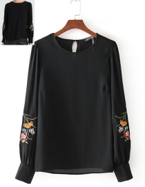 Fashion Black Round-neckline Decorated Blouse Reviews