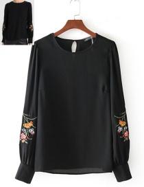 Fashion Black Round-neckline Decorated Blouse Reviews