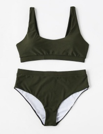Sexy Green Pure Color Decorated Swimwear