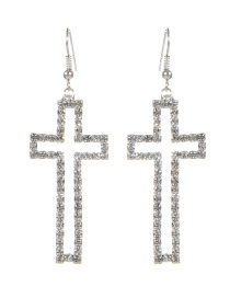 Fashion Silver Color Cross Shape Decorated Earrings