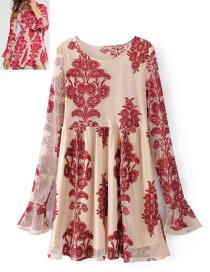 Fashion Pink+red Printing Pattern Decorated Dress
