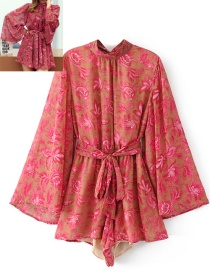 Fashion Red Flower Pattern Decorated Jumpsuits