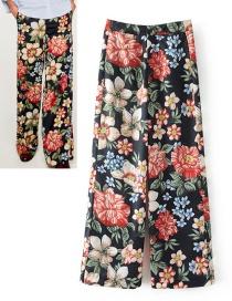 Fashion Black Printing Pattern Decorated Pants