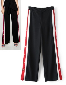 Fashion Black Color-matching Decorated Pants