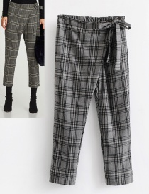 Fashion Gray Grid Shape Decorated Pants
