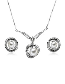 Fashion Silver Color Round Shape Decorated Jewelry Sets(2pcs)