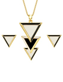 Fashion Gold Color Triangle Shape Decorated Jewelry Sets(2pcs)