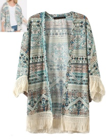 Fashion Blue Color Matching Decorated Coat