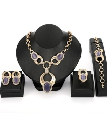 Fashion Purple Oval Shape Decorated Jewelry Sets(4pcs)