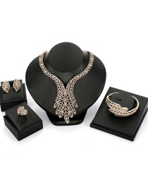 Fashion Gold Color Leaf Shape Decorated Jewelry Sets(4pcs)