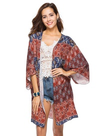 Fashion Brown Flower Pattern Decorated Blouse