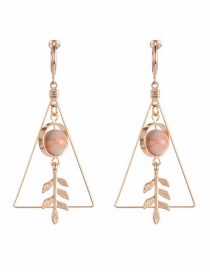 Fashion Gold Color+pink Leaf Shape Decorated Earrings