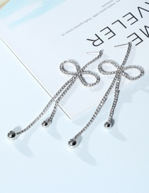 Elegant Silver Color Bowknot Shape Decorated Earrings