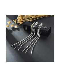 Elegant Silver Color Tassel Decorated Earrings