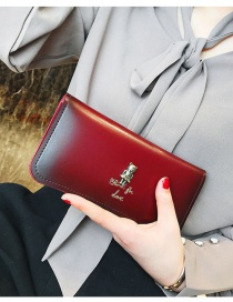 Fashion Red Square Shape Decorated Wallet
