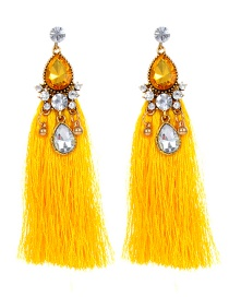 Bohemia Yellow Waterdrop Shape Diamond Decorated Earrings