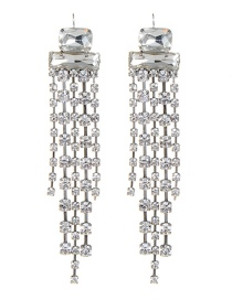 Elegant Silver Color Square Shape Diamond Decorated Earrings
